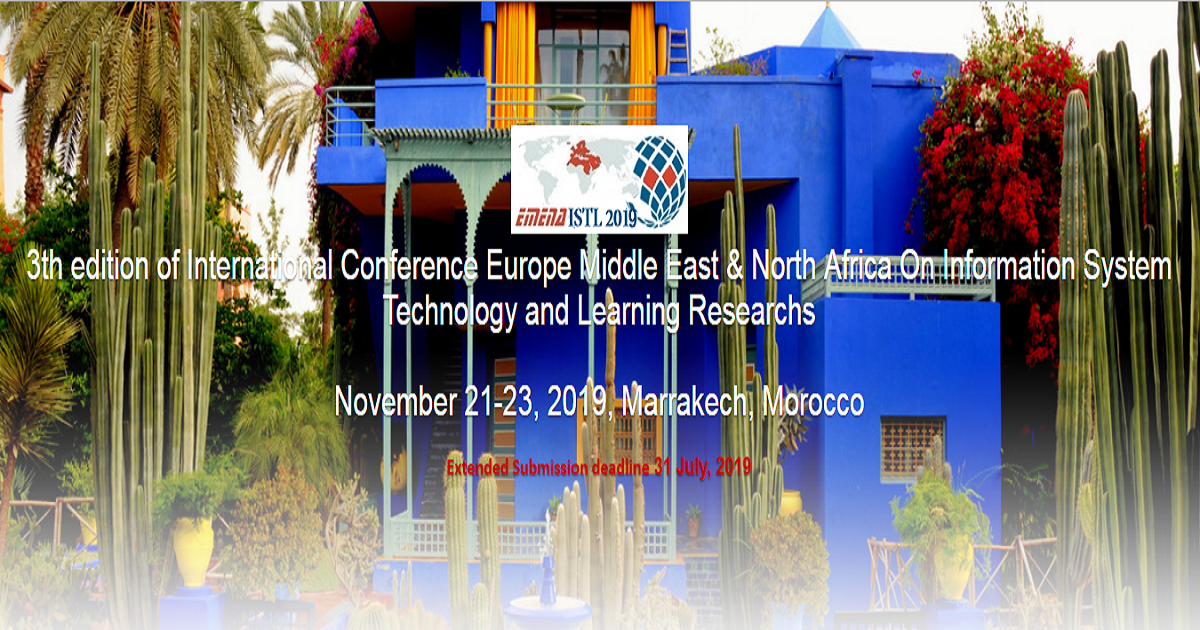 3th edition of International Conference Europe Middle East & North Africa On Information System Technology and Learning Researchs